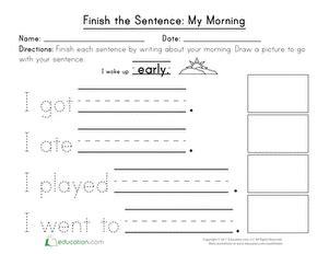 english sentence worksheets  kindergarten