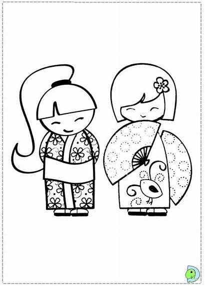 Kokeshi Desenhos Bonecas Coloring Dinokids Colorir Dolls