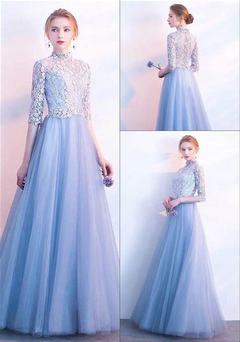 robe longue de soiree bleu ciel avec dentelle ajouree