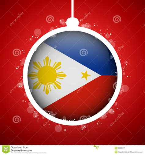 merry christmas red ball  flag philippines stock