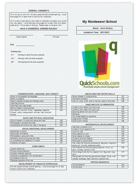 sample montessori report card report card template