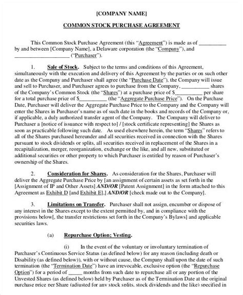 stock purchase agreement template 11 stock purchase agreement form sles free sle exle format