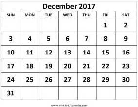 December 2017 Calendar