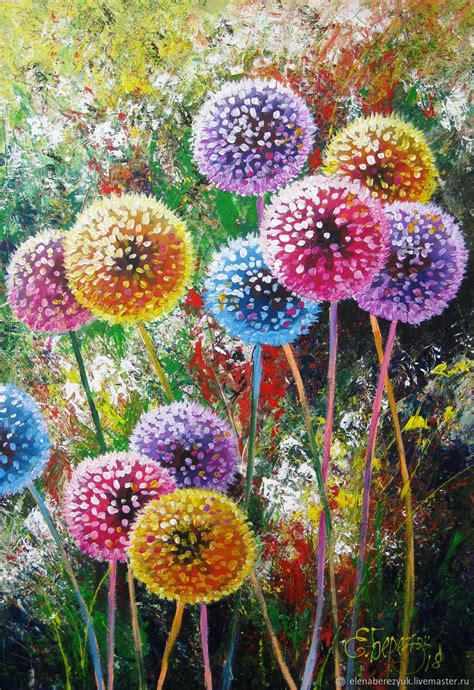 Dandelion flower art Original acrylic painting summer
