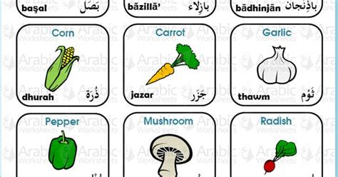 Arabicenglish Picture Dictionary Fruit And Vegetables  Arabicworksheets (tm) Mini Dictionary