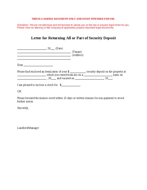 letter for returning all or part of security deposit hashdoc