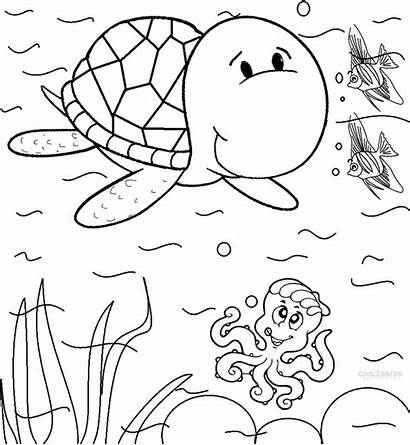 Turtle Coloring Sea Pages Printable Ocean Sheets