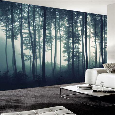 custom photo wallpaper  dense fog forest tree wall mural