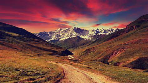 wallpaper mountains sunset landscape
