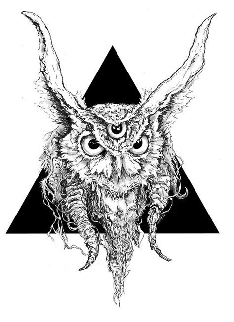 greater horned third eye - (owl)(triangle)(illustration) | Third eye tattoos, Triangle drawing