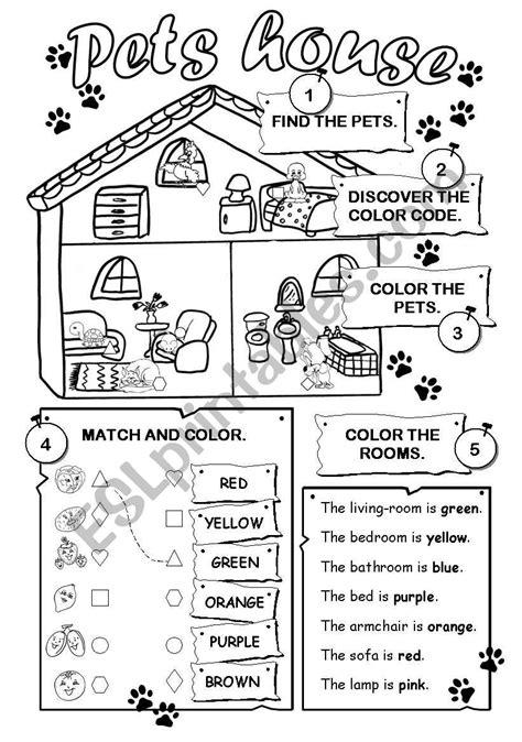 pets house esl worksheet  gabitza