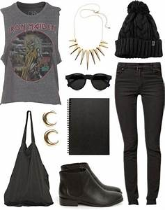 Rock outfit! Black skinny jeans a rock tangtop and cute accessories are perfect for Mayhem ...