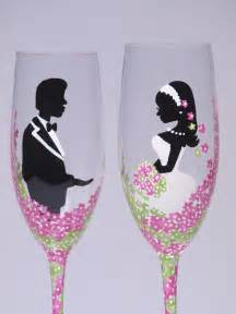 Hand painted Wedding Toasting Flutes Set of 2 Personalized Champagne glasses pink and green flowers