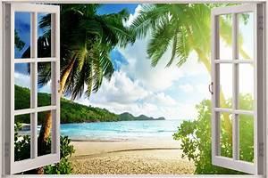 Poster Mural 3d : 3d effect window view palm trees beach paradise sticker wall poster vinyl ga1 52 ebay ~ Teatrodelosmanantiales.com Idées de Décoration