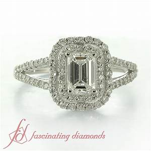 1.70 Ct Emerald Cut Double Halo Engagement Ring Diamond ...