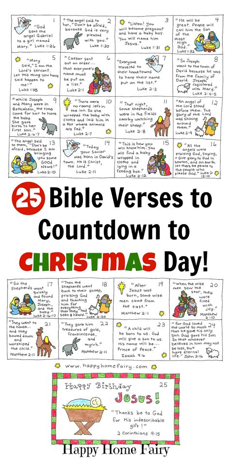bible verse advent countdown  kids  printable