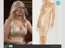 WornOnTV Ashley's gold bandage dress on The Young and the