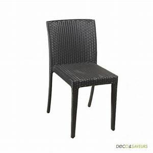 Chaise En Résine Tressée : chaises en r sine tress e noire x4 achat vente chaise r sine aluminium cdiscount ~ Dallasstarsshop.com Idées de Décoration