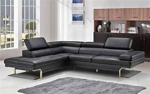 Tampa modern sectional black genuine leather for Sectional sofas tampa