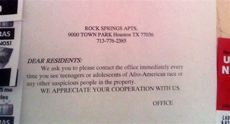 notice warns apartment residents  young blacks