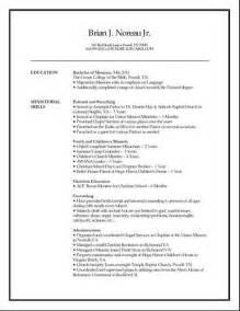 Musician Resume Template 2013 Children S Ministry Resume