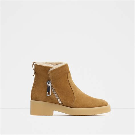 zara flat leather ankle boots  natural lyst