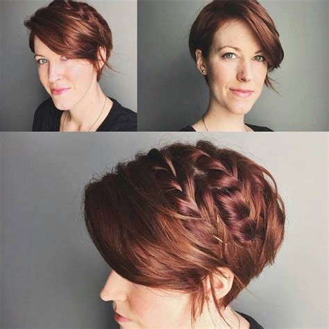 Hairstyles While Growing Out Pixie Cut by Idea For Braid Updo While Growing Out My Pixie Via
