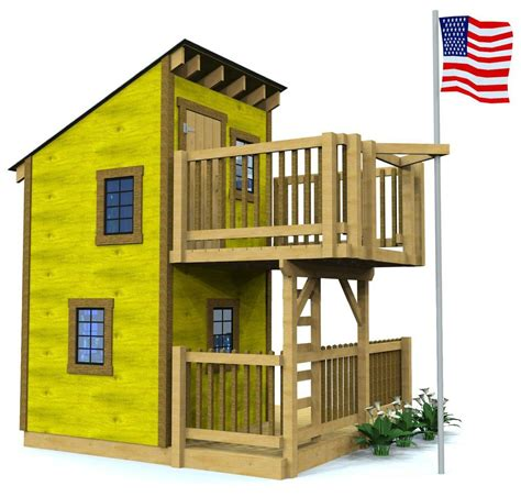 Backyard Clubhouse Plans by Deluxe Loft Clubhouse Plan Two Story Playhouse Diy