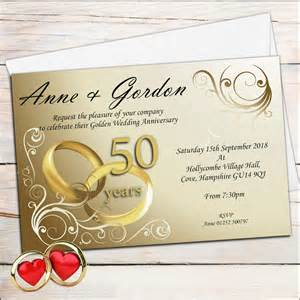 10 personalised gold rings 50th golden wedding anniversary invitations n1 - Golden Wedding Anniversary Invitations