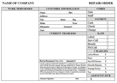 auto repair invoice template simple auto repair work order