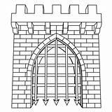 Gate Vector Medieval Coloring Isolato Vettore Medievale Isolated Drawing Disegno Colorare Portone Tekening Illustrazione Coloritura Chateau Coloriage Poort Middeleeuwse Dessin sketch template