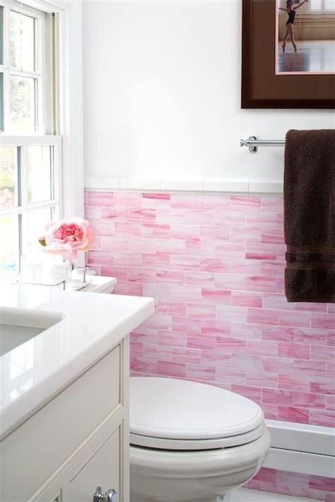 pink subway tile wall inspiring spaces