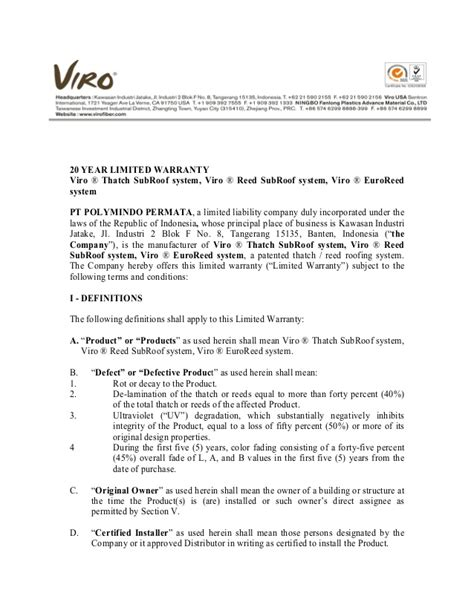 010 warranty letter of viro thatch