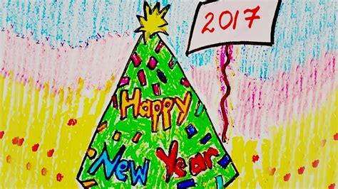 New Year Greeting Card Design, Draw Happy New Year Card