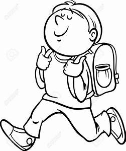 Boy Going To School Clipart Black And White - ClipartUse