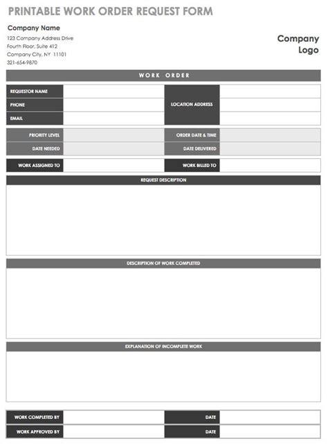Free Printable Work Order Template 15 Free Work Order Templates Smartsheet