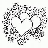 Coloring Hearts Pages Simple Preschoolers sketch template