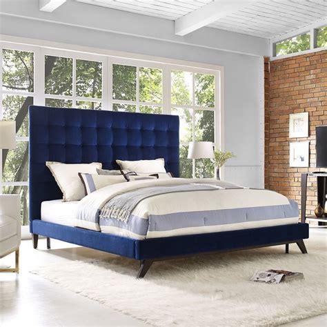 queen size bed frame blue velvet tufted platform bed
