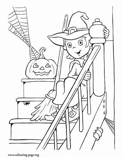 Coloring Witch Pages Halloween Pumpkin Colouring Stairs
