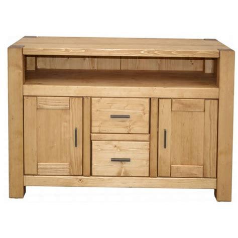 meuble tele haut meuble tv haut 2 portes 2 tiroirs 1 niche pin massif scandinavia