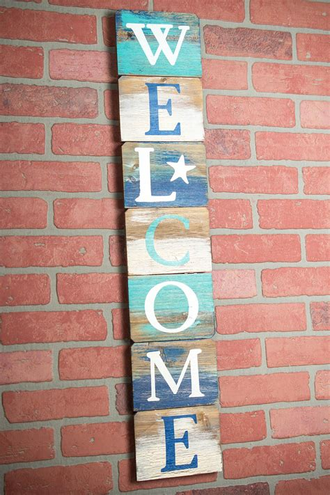 sign beach decor vertical  inches wooden