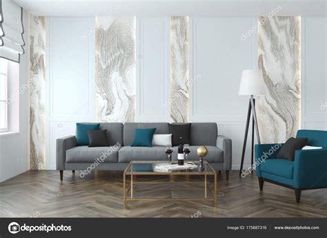sala sofa cinza e poltrona azul branca e cinza de sala de estar sof 225 azul stock photo