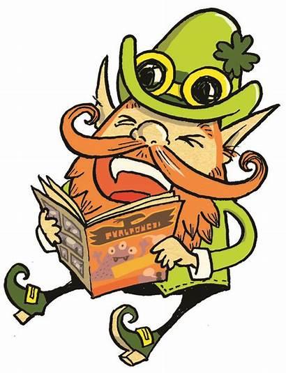 Leprechaun Pot Gold Clipart Mythical Clip Reading