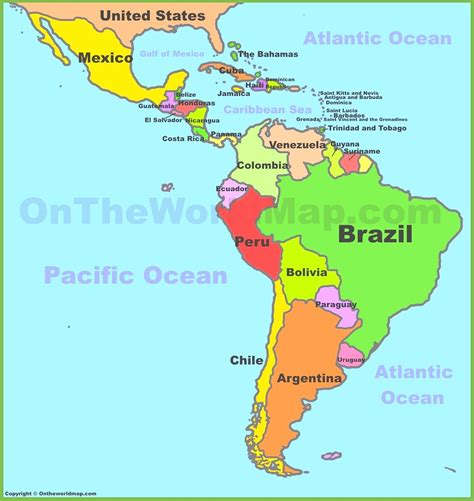 north  south america maps  travel information