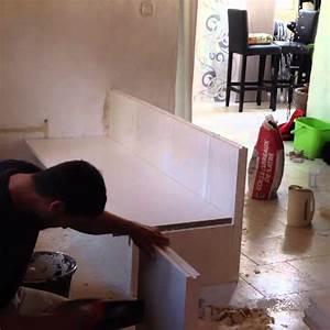 creation d39un meuble de cuisine en carreau de platre youtube With realiser une cuisine en siporex