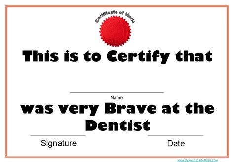 printable certificates  dentists
