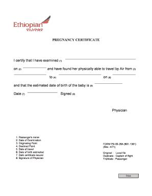 Fit To Fly Certificate Template fit to fly certificate pregnancy format fill
