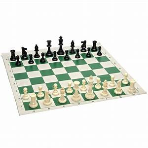 Tournament Chess Pack  U2013 Staunton Pieces With Green Board