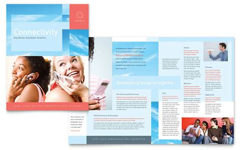 communications company brochure template word publisher