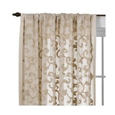 white with gold tan scroll work curtains for the home